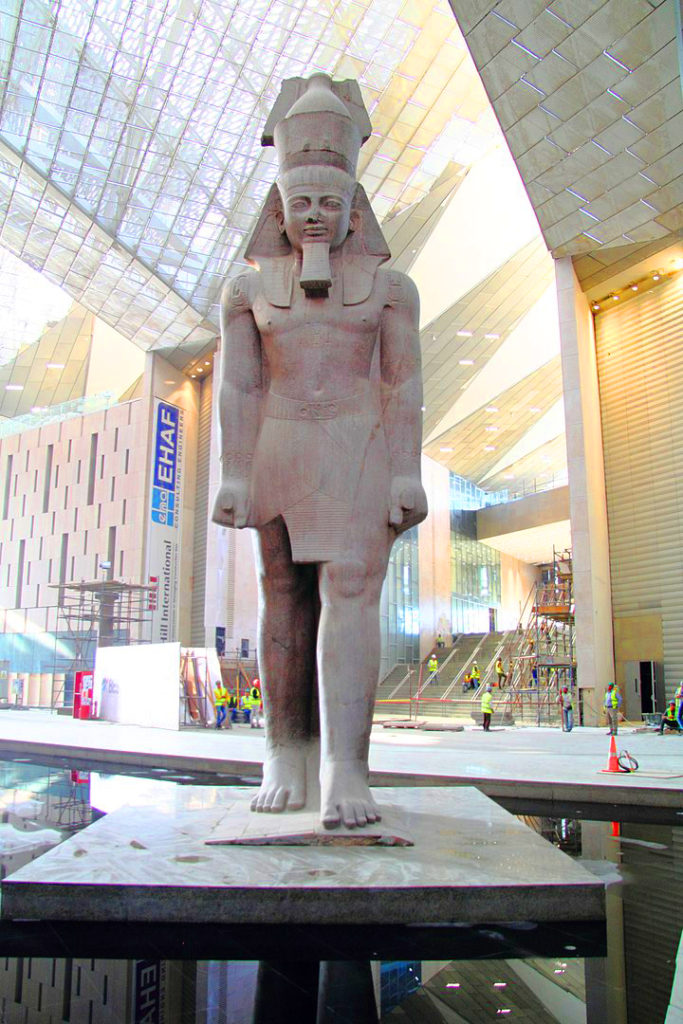 Statue of Ramesses II inside the Grand Egyptian Museum