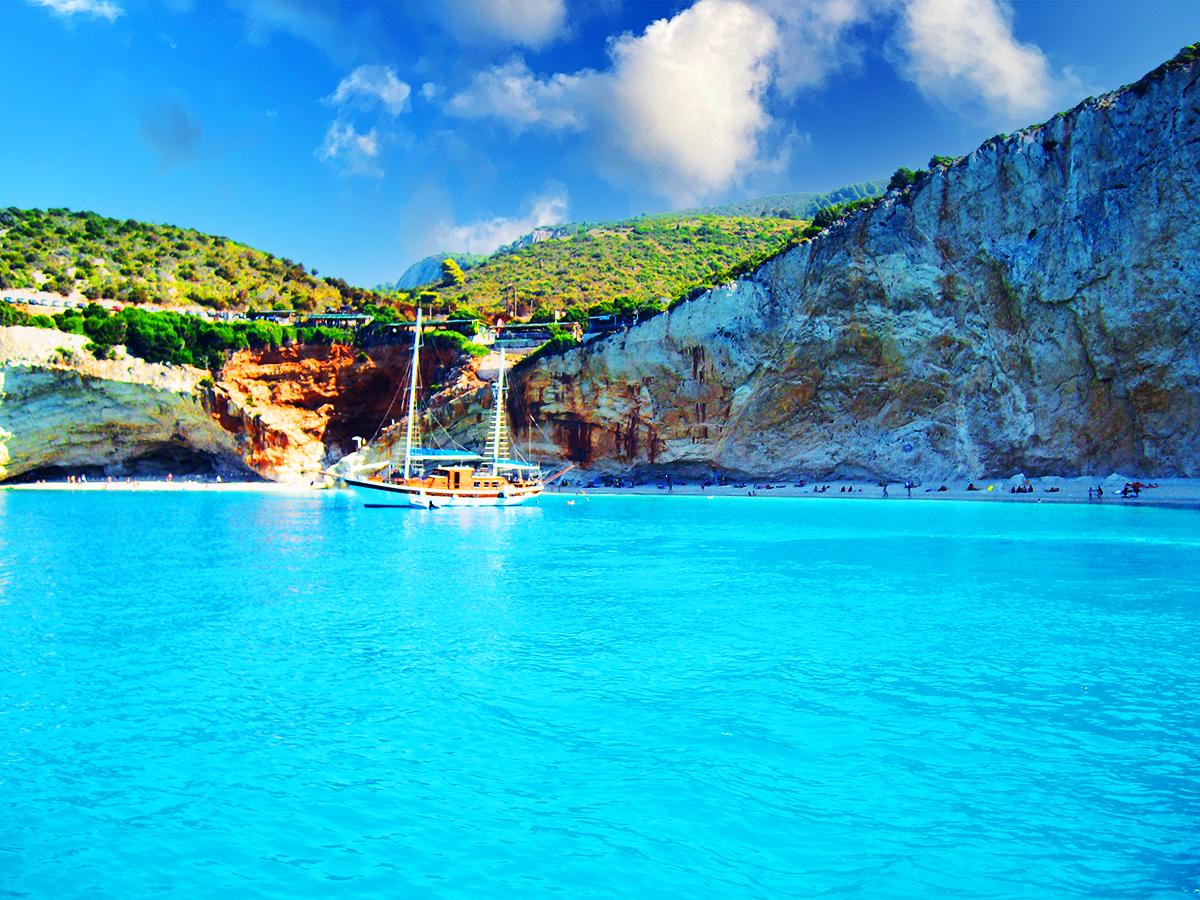 Porto Katsiki, the most famous beach in Lefkada, Greece