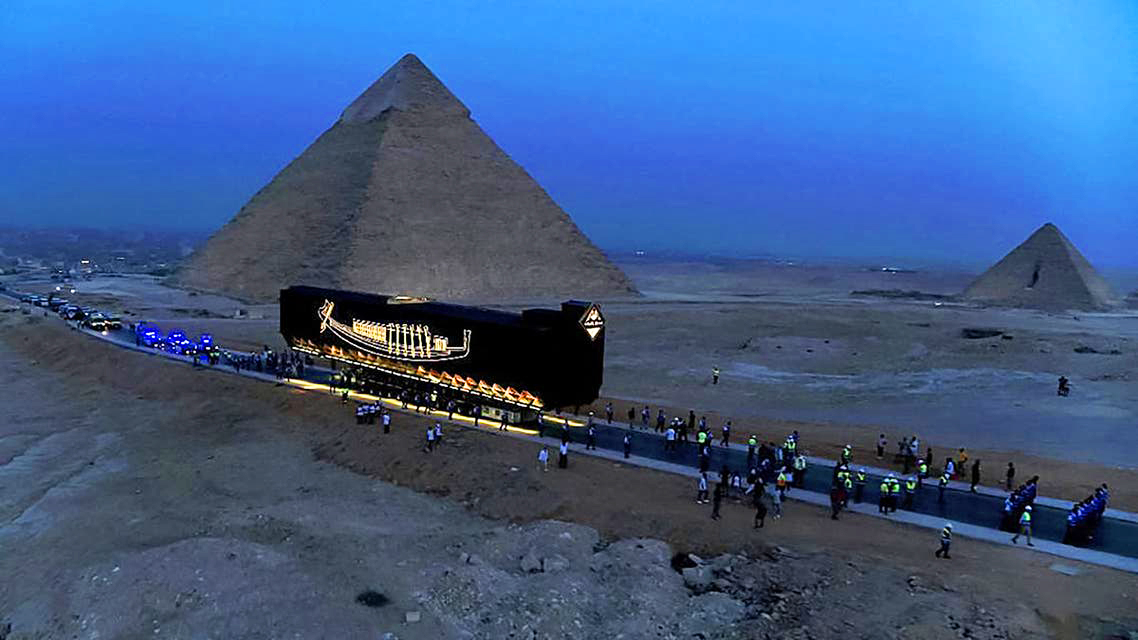Pharaoh Khufu's solar boat was moved to the Grand Egyptian Museum